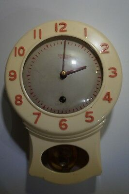 Smiths Enfield Bakelite Kitchen Wall Clock For Spares Or Repair
