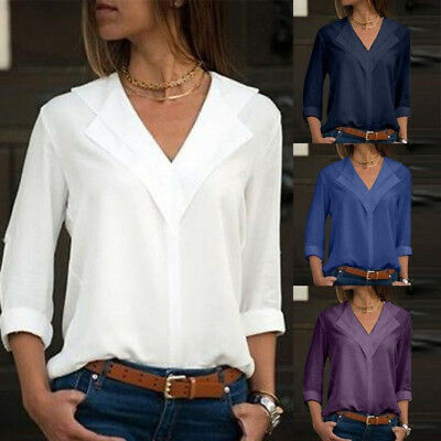 Women Chiffon Solid Long Sleeve Summer Casual Loose Tops T Shirt Pullover Blouse