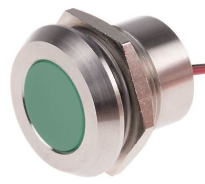 Indicator RS Pro Green, IP67, 24 V dc, 22mm Mounting Hole Size, Lead Wires Termi