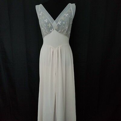 Vintage 1950s Vanity Fair Long Nightgown 36 Pale Pink Embroidered Chiffon Bust