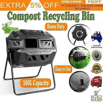 160L Compost Tumbler Bin Food Waste Recycling Composter Black