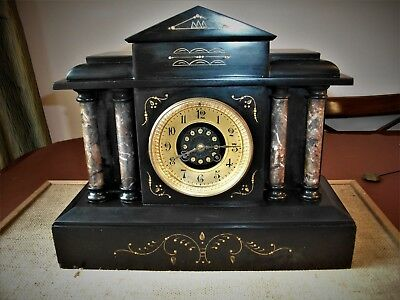 IMPRESSIVE FRENCH SLATE AND MARBLE CLOCK 1800's. 8 DAY STRIKING MARTI MOVEMENT.