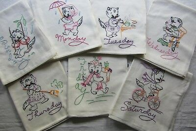 Vtg Flour Sack Embroidered Kitchen Towels ~ Kittens ~ Monday Thru Sunday (7)