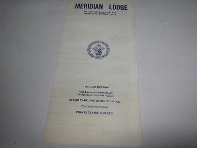 POINTE CLAIRE ,QUEBEC-MERIDAN  LODGE A.F.& A.M. No.125 MEETING BULLETIN 1978