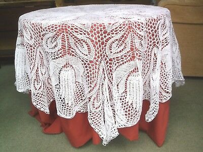 Vintage Hand Knitted Round Table Cloth