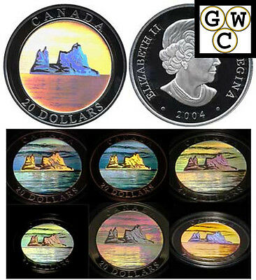 Canada 2004 Fine Silver Natural Wonders $20 Icebergs Hologram Coin