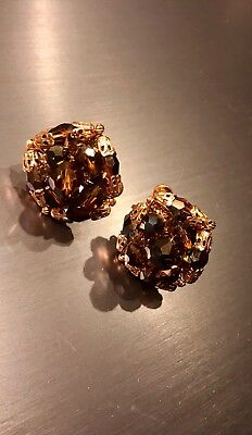 Vtg Vendome Amber Brown Crystal Glass Bead Earrings Faceted Cluster Clip