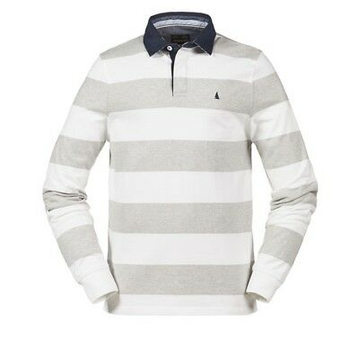 BOOTGLÜCK - MUSTO Edward Stripe Rugby Shirt Grey/Bright White - Gr. M - NEU