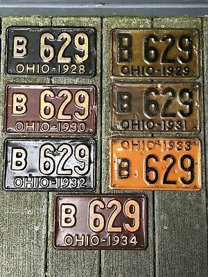 7 Vintage Consecutive Years Ohio 1928-1934 Low Number license Plates B 629