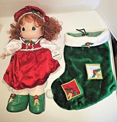 "Precious Moments Christmas Doll Holly 16"" w Stocking Red Hair 1999 QVC orig box"