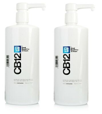 2 x CB12 Mint Menthol Mouthwash 1000ml - 1 Litre (Best Price)