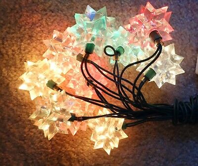vintage christmas light strand covers 10 clear acrylic pointy star reflectors