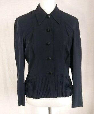 Vintage 1930's Crepe Blazer or Blouse w/ Pleated Peplum & Glass Buttons As-Is, S