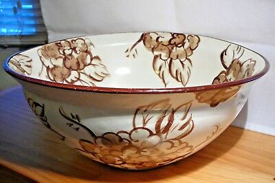Fioriware/jardinware Art Pottery Large Brown Floral Bowl Zanesville Oh