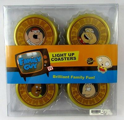 Family Guy Light Up Coasters Drunken Clammers New in Packaging - Sealed 2006