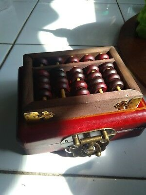 Beautiful Dragon & phoenix portable Abacus rack with wood box brass clasp latch