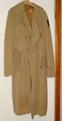 Vintage Named WWII Military Pow Trench Coat Lined Jacket W/ Patch Painted Heart