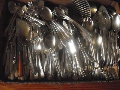 150 Pc Mixed Lot Silverplate/Antique Flatware/Serving   #197