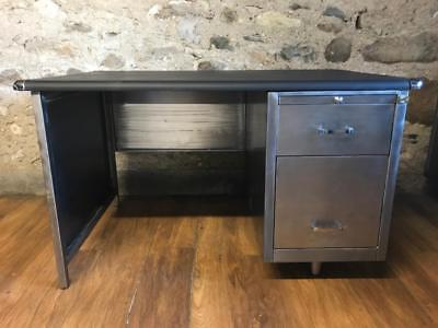 Stunning  Vintage Mid Century Stripped Metal Desk  Office Desk With Key