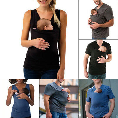 New T-shirt Women Men Father Functional A-shirt baggy.Tops For baby carrying