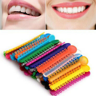 40 Sticks Colors Rubber Bands Elastic Orthodontics Dental Ligature Ties 8C