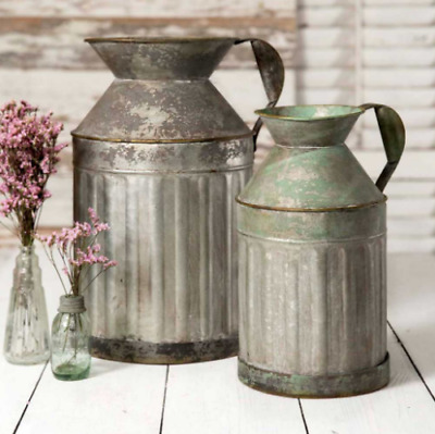 Set of Large Rustic Galvanized Tin Milk Cans, Jug | Vintage Rusty Distressed Far