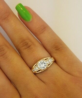 2 Ct Round Cut Engagement Ring Bridal Wedding 14K Solid Yellow Gold