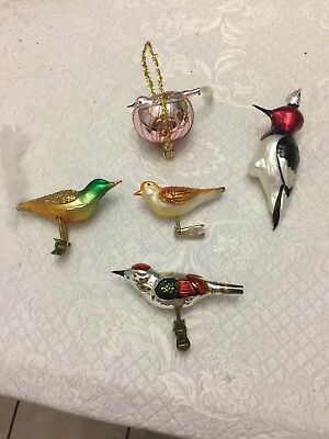 5 - Vintage Glass Birds. - Clip On Ornament
