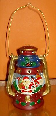 Ceramic Oil / Tilly Lamp shaped CHRISTMAS TEALIGHT / CANDLE HOLDER - Santa -
