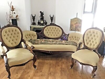 3 pcs mid Victorian carved walnut lounge set