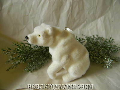 Flocked White Polar Bear Ornament * So Cute *