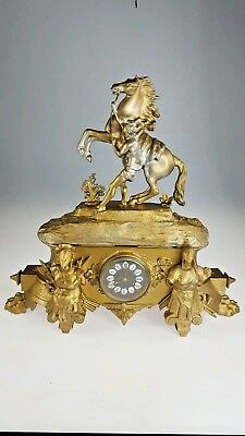 Antique French Bronze And Gilt Wood Figural Mantle Clock spares or repairs