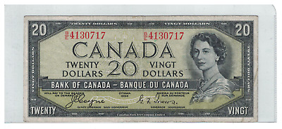 1954 Bank of  Canada 20 Dollar Note Devil's Face B/E 4130717 Coyne/Towers