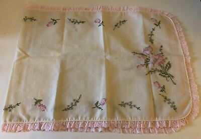 Vintage Shabby Chic Embroidered Pink Flowers Table Dresser Runner
