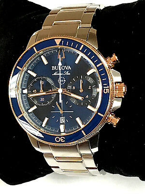 Bulova 98B301 Marine Star Chronograph Blue Dial Two-Tone Men's Watch WARRANTY