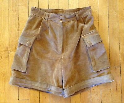 Vintage 70's Hippie Boho High Waist Tan Suede Cargo Mom Shorts Women's 28/6
