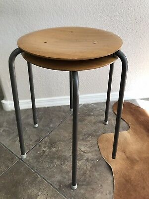 Vintage 1950's Mid Century DOT STOOL Arne Jacobsen for Fritz Hansen 2x as is