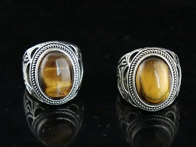 Handwork Tibet Silver Inlay Cat's eye Carve China Culture Delicate Couple Rings