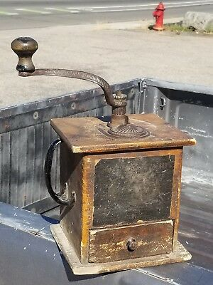 Old Antique Arcade Imperial No. 999 COFFEE GRINDER Mill Wood Cabinet Hand Crank