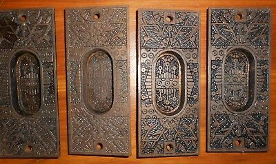 4 Antique Eastlake Victorian Cast Iron Pocket Door Window Pulls 1880 REDUCED $10