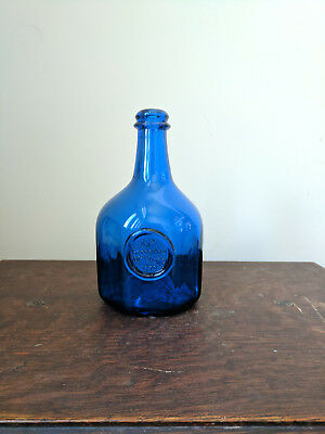 JNO Greenhow Williamsburg 1770 Blue Sapphire Glass Bottle 8 Sided Octagon Repro