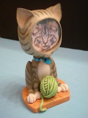Gray Striped Tabby Cat BOBBLEHEAD Picture FRAME, Burnes of Boston