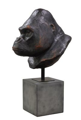 New Black Monkey Gorilla Face Statue on Stand Home Decor gift Free Shipping 23""