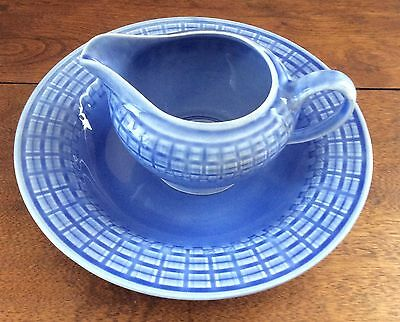 Vintage Edwin M. Knowles China Union Made Cornflower Blue Bowl and Small Pitcher