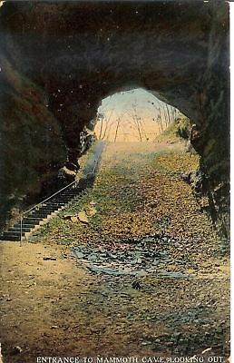 Antique Postcard Photo Entrance to Mammoth Cave Looking Out Postmark 1913