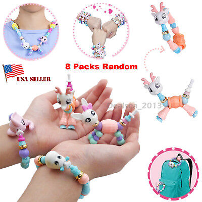 8 Packs Cute DIY Bracelets Mascot Animal Elasticity Twist Magic Trick Kids Toys