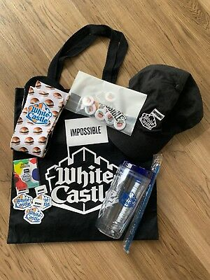 White Castle Impossible Burger Swag Bag Collectibles Hat Cup Pin Socks Stickers