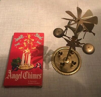 NOS Swedish Angel Chimes Vintage Brass Spinning Rotating Christmas Candle Holder