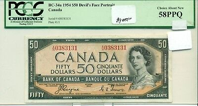 PCGS Currency 1954 $50 Devil Bank of Canada Choice About New 58PPQ
