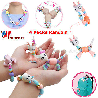 4 Packs Cute DIY Bracelets Mascot Animal Elasticity Twist Magic Trick Kids Toys